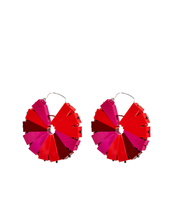 Cherry red Legos pinwheel hoop earrings handmade by Emiko Oye.