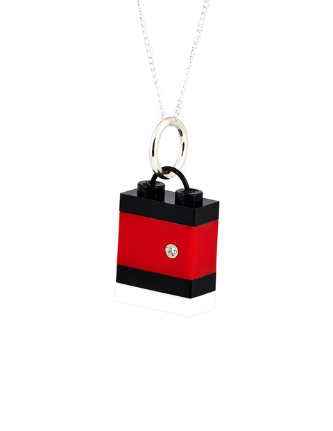 Slim Black and red checker Legos pendant necklace with cubic zirconia stone handmade by Emiko Oye.