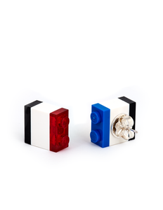 Legos stud earrings in Mondrian color palette handmade by Emiko Oye.