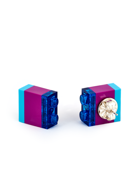 Legos striped stud earrings handmade by artist Emiko Oye.