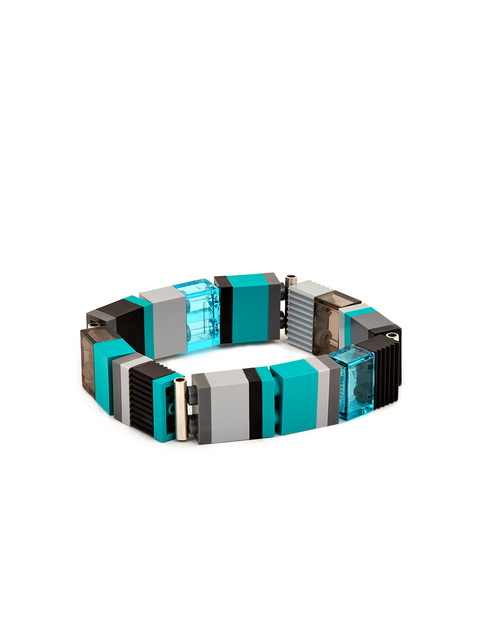 Stacked Legos bracelet in turquoise and grey handmade by artist Emiko Oye.