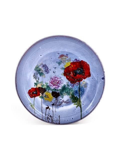 Wheel thrown terra cotta plate with lavender glaze and poppy decal handmade by Justin Rothshank.