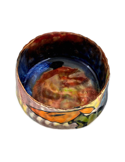 Earthenware cup with glazed drawing handmade by artist En Iwamura.