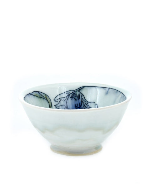 Porcelain mishima bowl with floral drawings handmade by Katie Susko.