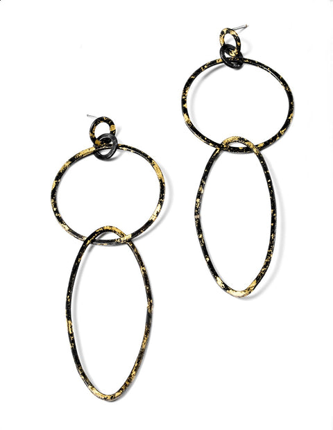 Statement geomtric earrings in gold and steel, handmade by Susanne Henry.