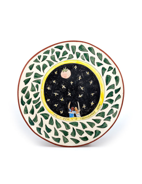 Earthenware plate with illustrated drawing and botanical rim handmade by artist Molly Ann Bishop.