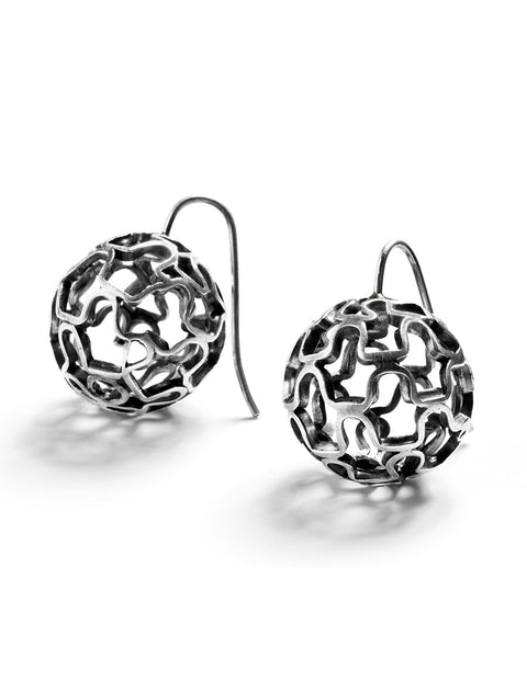 Sterling silver woven sphere drop earrings handmade by Sarah Holden.