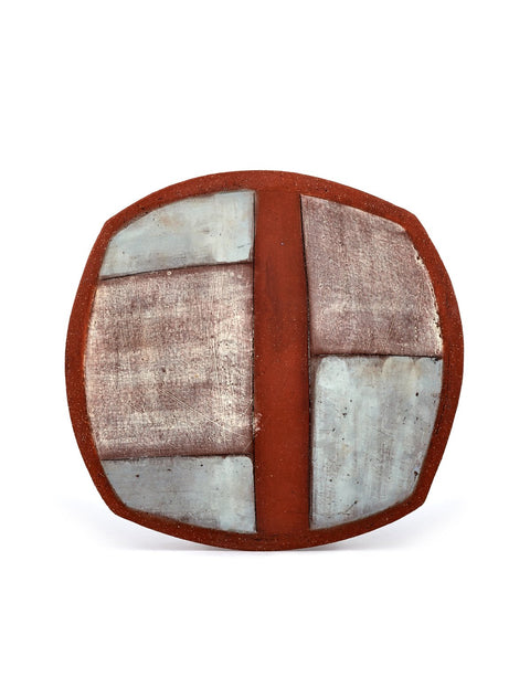 Terra cotta plate with weathered colorblocked surface handmade by Mark Arnold.