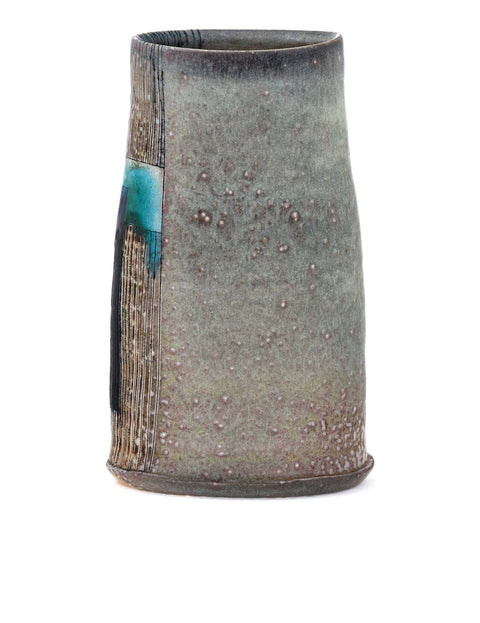 High-fired vase with atmospheric flashing and geometric turquoise glaze handmade by Samantha Hostert.