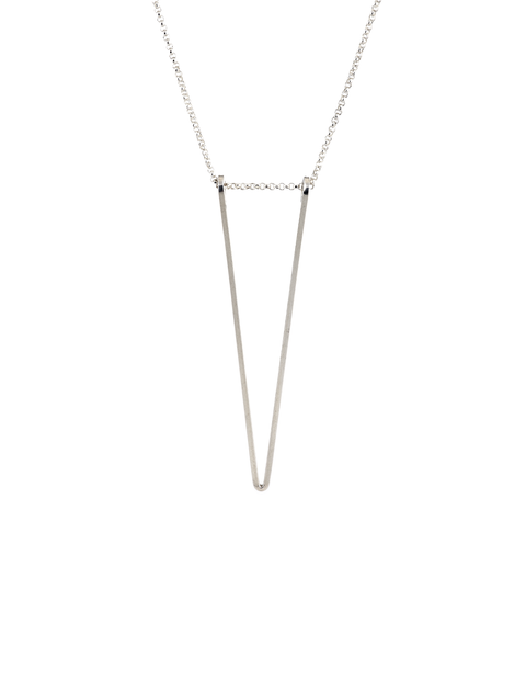 Delicate sterling silver deep triangular statement necklace handmade by Lisa Slodki.