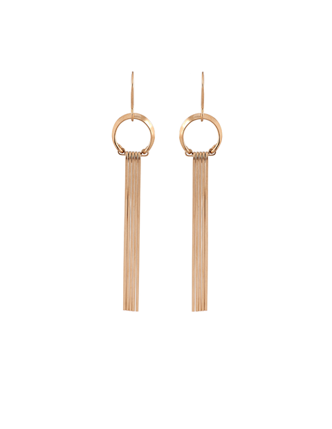 Delicate gold fill fringed tassle earrings handmade by Lisa Slodki.