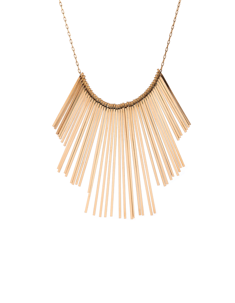 Large gold fill fringe statement necklace handmade by Lisa Slodki.