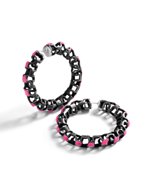 Sterling silver ruffle see through hoop earrings with pink flocking handmade by Sarah Holden.
