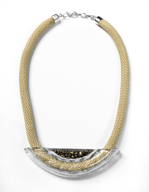 Modern glass and gold nylon cord statement necklace handmade by artist Etta Kostick.