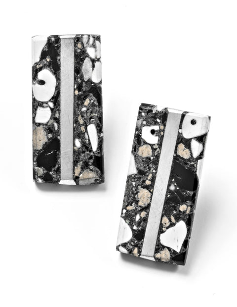Rectangle marbled resin post earrings with silver line handmade by Etta Kostick.
