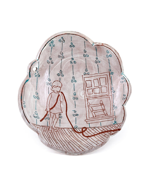 Scalloped earthenware plate with drawings handmade by Nicole Paulina