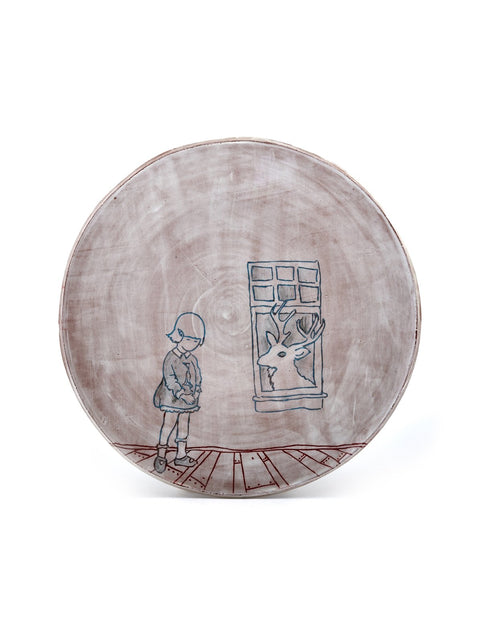 Earthenware plate with drawings handmade by Nicole Paulina