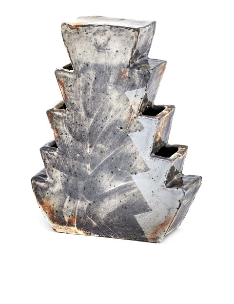 Slab built geometric vase with iron oxide slips handmade by Nicholas Danielson