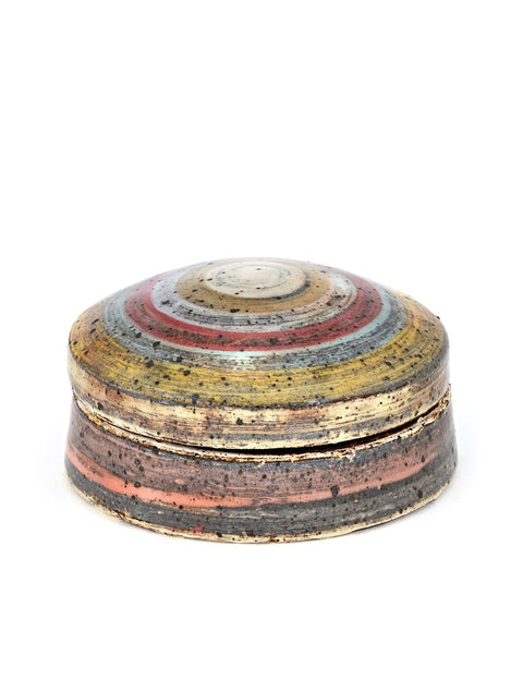Wheel thrown shallow lidded jar with striped slip surface design handmade by Nicholas Danielson