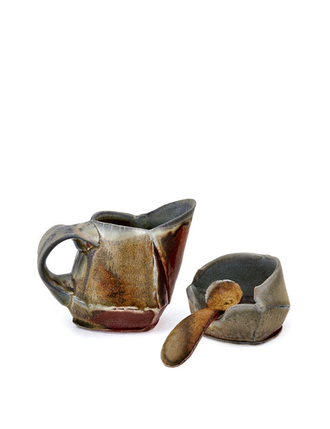 Wood-fired stoneware cream and sugar set handmade by Ian Conners.