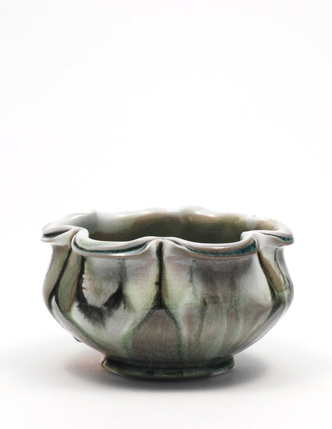 Soda-fired ice cream bowl with rich cobalt glaze handmade by Nolan Baumgartner.