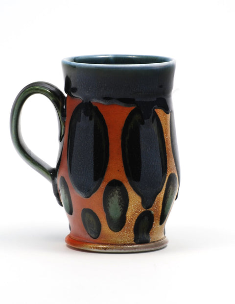 Soda-fired mug with rich cobalt glaze handmade by Nolan Baumgartner.