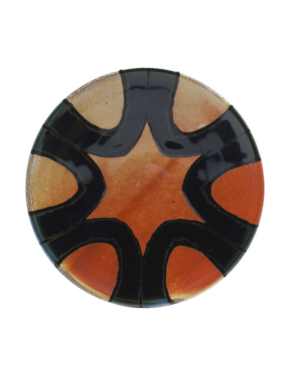 Soda-fired lunch plate with rich cobalt glaze handmade by Nolan Baumgartner.