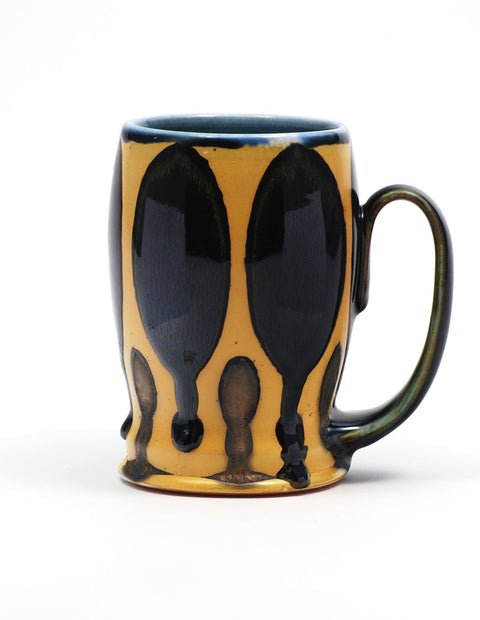 Soda-fired stein with rich cobalt glaze handmade by Nolan Baumgartner.