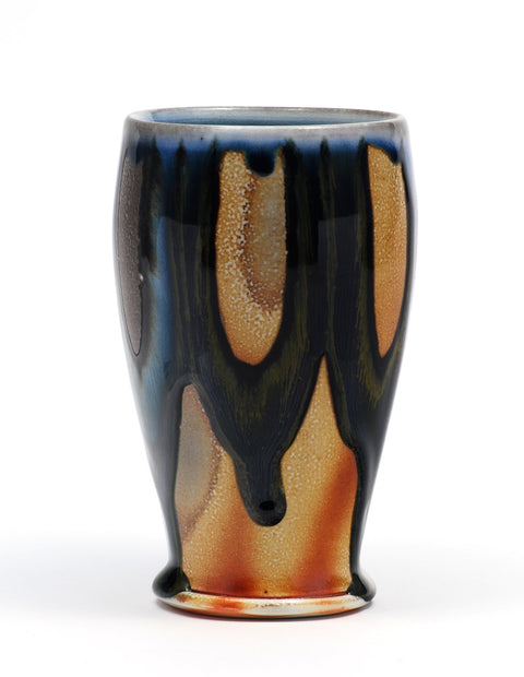 Soda-fired tumbler with rich cobalt glaze handmade by Nolan Baumgartner.