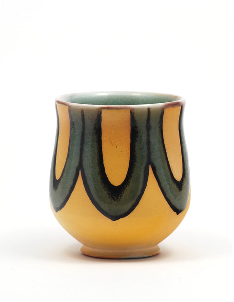 Soda-fired yunomi cup with rich cobalt glaze handmade by Nolan Baumgartner.