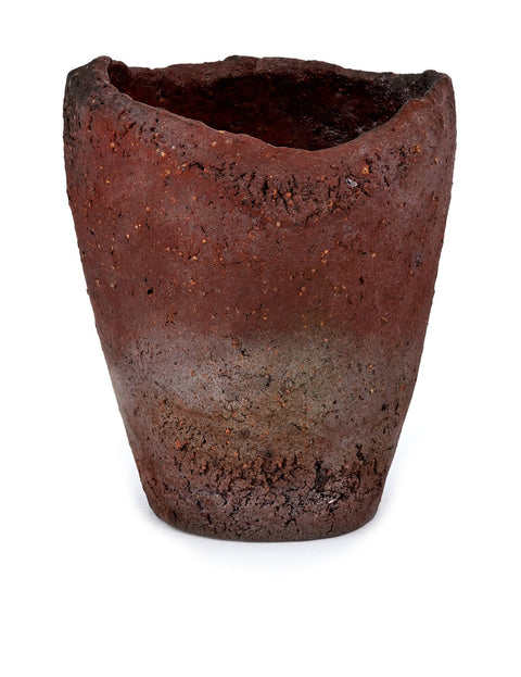 wood-fired wild clay tumbler handmade by Mitch Iburg
