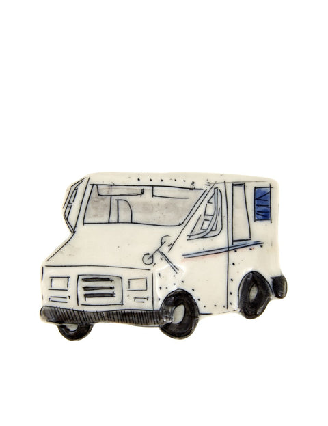 Small porcelain object with mail truck illustration handmade by Autumn Higgins.