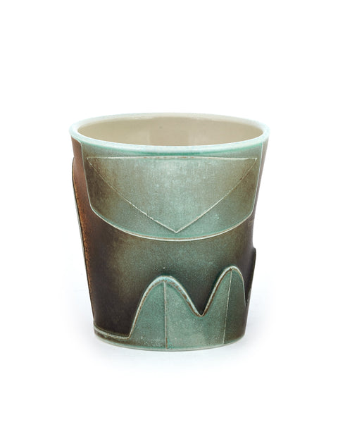 Small porcelain soda-fired tumbler with atmospheric flashing