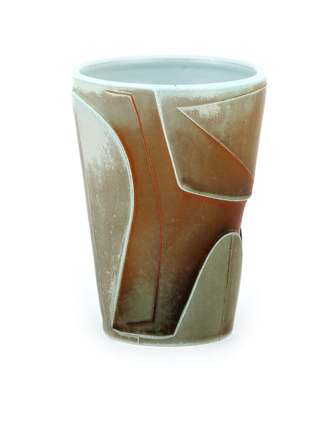 Soda-fired porcelain tumbler with atmospheric flashing