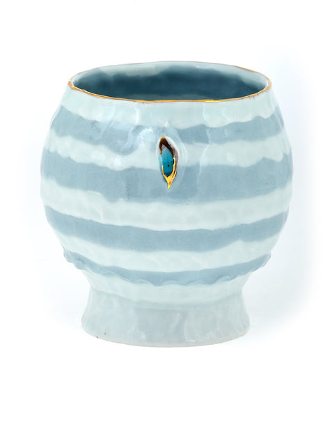 Small blue and white porcelain teabowl with gold lustre accent handmade by Yoonjee Kwak