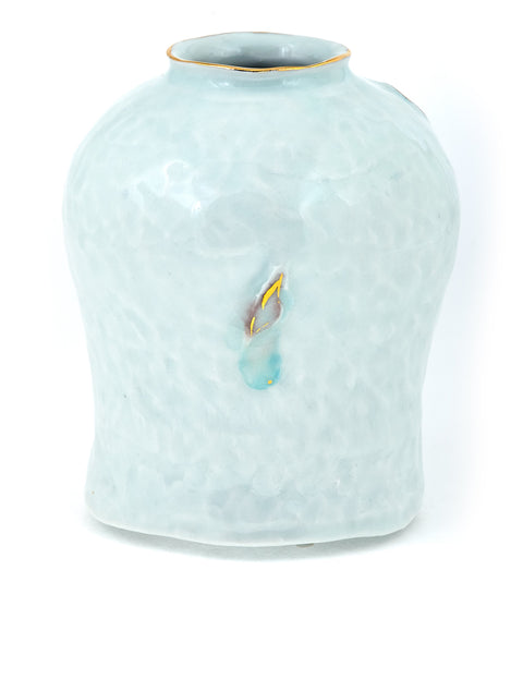 Small porcelain bud vase with celadon glaze and gold accent handmade by Yoonjee Kwak