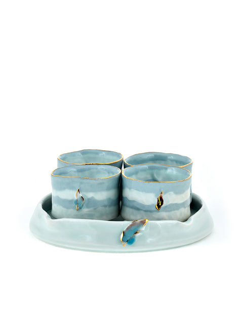 Blue Sunset Teacup Set
