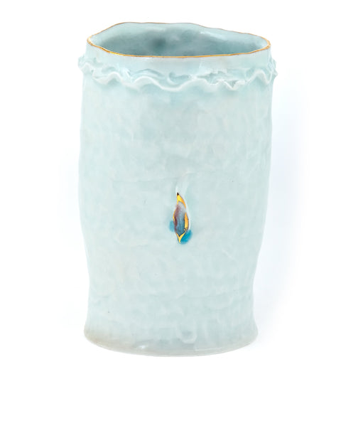 Porcelain tumbler with gold lustre accents and celadon glaze handmade by Yoonjee Kwak
