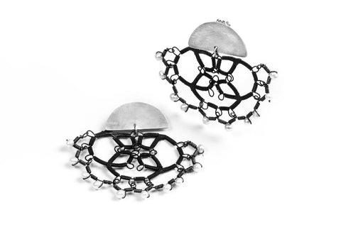 Sterling silver post earring with steel lace and pearl dangle, handmade by Sarah Holden