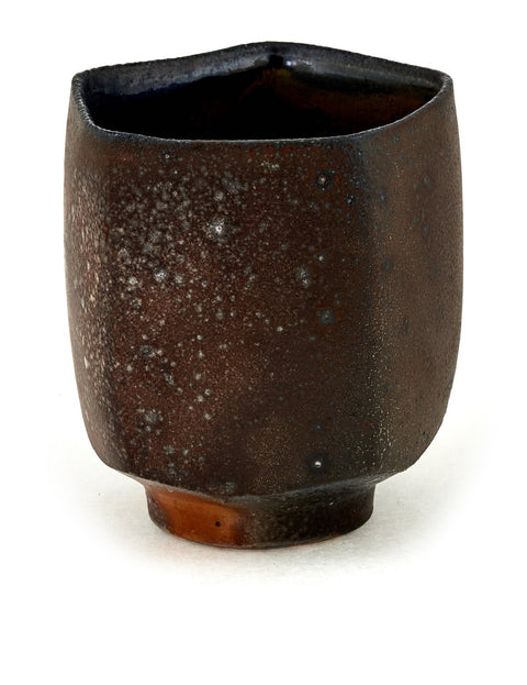 Faceted soda-fired stoneware yunomi handmade by Stuart Gair