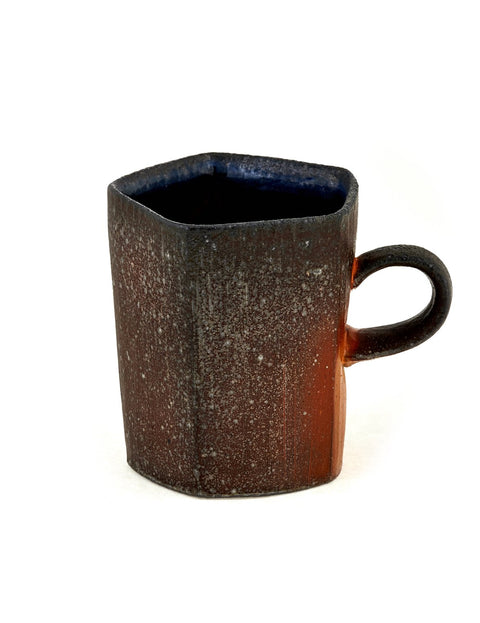Soda-fired faceted stoneware mug handmade by Stuart Gair.