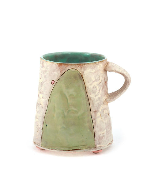 White-washed red stoneware mug with mint glazed interior handmade by Didem Mert