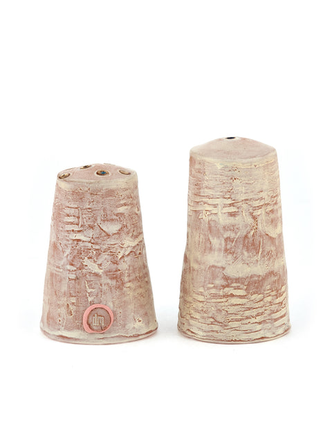 White-washed red stoneware salt and pepper shakers handmade by Didem Mert
