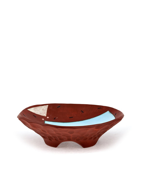 Shallow red stoneware bowl with blue glazed square handmade by Didem Mert