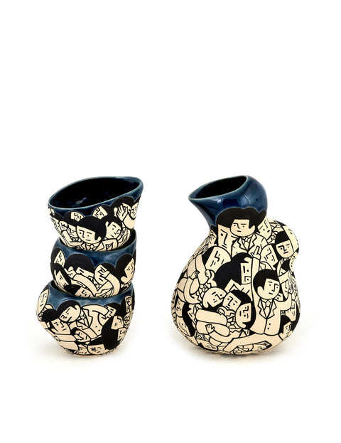 Handmade illustrated sake set with bottle and sake cups by En Iwamura