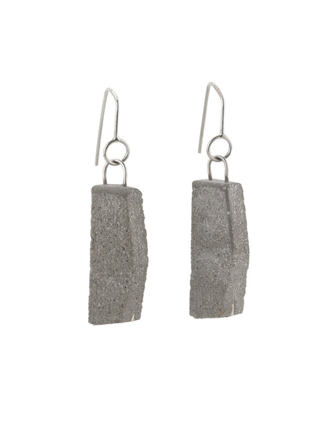 Industrial and unique earrings in concrete and sterling silver