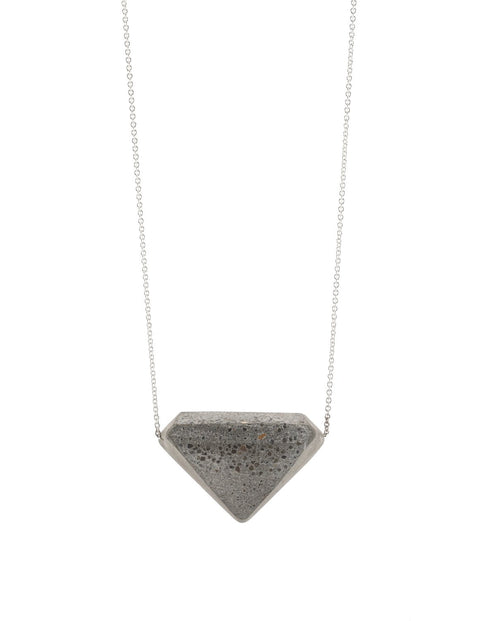 Unique diamond-shaped pendant in concrete and sterling silver, handmade by  Michael Ruta.