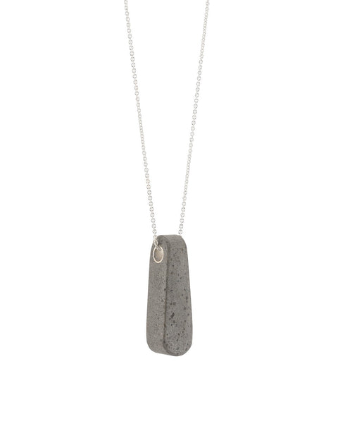Industrial pendant in concrete and sterling silver, handmade by Mike Ruta.
