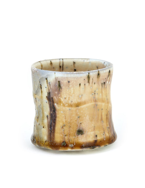 Wood-fired porcelain whiskey cup handmade by Perry Haas