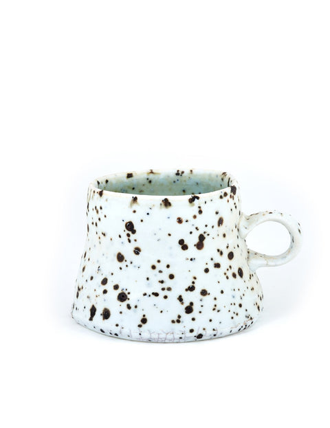 Wood-fired porcelain coffee mug handmade by Perry Haas